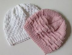 Knit tutorial: good for baby girl Chunky Knitting Patterns, Baby Hats Knitting, Knitted Hats, Tricot Baby, Baby Girl Patterns, Hat Patterns, Clothing Patterns, Baby Girl Hats, Baby Girls