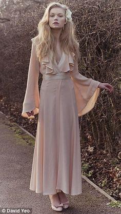 ossie clark vintage romantic deep ruffled vneck bell-sleeved gown. so pretty.