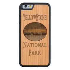 Yellowstone National Park Buffalo Animal Souvenir Carved Cherry iPhone 6 Bumper Case This souvenir style travel design features wildlife nature photography of a herd of buffaloes crossing the river in Yellowstone National Park, Wyoming USA. Great gift for a park lover, hiker, climber or outdoorsman. #yellowstone #gift