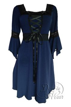 Dare To Wear Victorian Gothic Women's Plus Size Renaissance Corset Dress Midnight