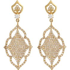 Sara Weinstock Diamond & Gold Laura Earrings ($11,960) ❤ liked on Polyvore featuring jewelry, earrings, colorless, post earrings, gold diamond earrings, womens jewellery, gold jewelry and floral earrings