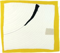 12.1.2012 small art quilt, contemporary, abstract, textile drawing, haiku, white, black, yellow, beige. $85.00, via Etsy.