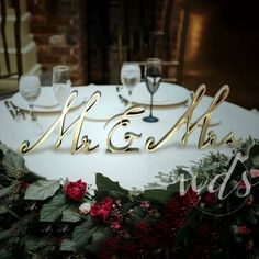 $39.95 · Mr. & Mrs. signs are the most elegant way to decorate your sweetheart table and is a MUST for your wedding decor. These freestanding Mr & Mrs and ampersand signs are large in size and they match with any theme. Our Mr and Mrs signs are crafted out of PLA plastic and hand sanded as a finishing touch giving it a rustic and vintage look. These Mr & Mrs signs are great for so many themes and styles of wedding decor - rustic, vintage chic, or even for modern weddings. Also great ..
