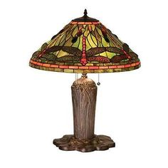 "Meyda Lighting 25""H Tiffany Dragonfly Table Lamp, 59 Flame - 26680"