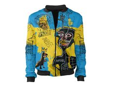 Bomber jacket inspired by Jean-Michel Basquiat's paintings – the precursor of graffiti and a neo-expressionist painter. We fell in love with his colors, intriguing characters and legend of the artist himself  INFORMATION • 100% original artwork • real product photos • classic and