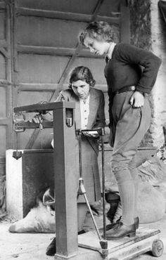 New Land Army recruit Iris Joyce (aged 19) is weighed at the Northampton Institute of Agriculture, two weeks after she left her job as a typist. 1942