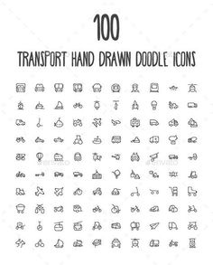 100 Transport Hand Drawn Doodle Icon