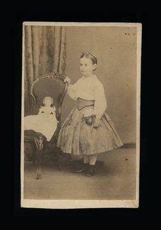 Antique 1860s CDV Photograph Little Girl Posing with by diabolus