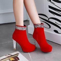 Shoespie Round Toe Sequine Heel Fashion Boots