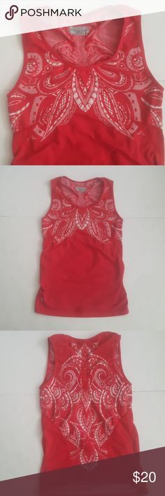 Athleta Red & White Seamless Stride Tank Top Smooth and stretchy work out top. Does not have built in bra. Athleta Tops Tank Tops