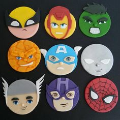 Marvel Cupcake Toppers Etsy listing at https://www.etsy.com/listing/161392667/marvel-superhero-squad-fondant-cupcake