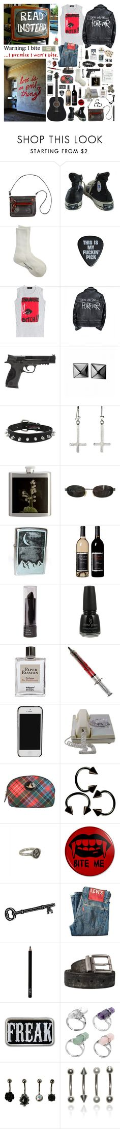 """call me if you wanna feel alive. i need your money"" by nothingisnormal ❤ liked on Polyvore featuring Overland Sheepskin Co., Converse, Comme des Garçons, Dsquared2, Smith & Wesson, Waterford, Tom Ford, Market, China Glaze and Steidl"