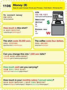 Easy to Learn Korean Language 1101 ~ 1110 Korean Words Learning, Korean Language Learning, How To Speak Korean, Learn Korean, Korean Phrases, Korean Text, Learn Hangul, Korean Lessons, Japanese Language