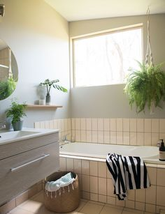 This budget bathroom makeover proves simple ideas create big impact Bathroom Red, Budget Bathroom, Small Bathroom, Bathroom Ideas, Floating Wall, Floating Shelves, The Block Nz, Green Palette, Inside Home