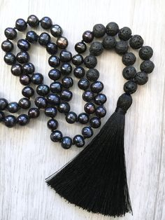 Black Pearl & Lava Stone Mala Necklace 108 bead hand