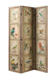 """A Home  Wood and Paper Screen   Wood and MDF construction  - Printed paper accents  - 53"""" W x 71"""" H  - Imported"""