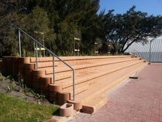 Close-up of the seating at the University of Western Cape University Of Western Cape, Retaining Blocks, Stairways, 4x4, Terrace, Sidewalk, The Unit, Design, Stairs