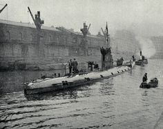 Captured WW1 German submarine U86 on view to the public in Bristol harbour 1918.   U86 under the command of then 27 year old Helmut Patzig was the highest scoring Uboat in North Channel during the closing year of WW1. However, her illegal action in torpedoing, sinking and then ramming/machine gunning the escape lifeboats a Canadian Hospital Ship, Llandovery Castle on 27 June 1918, killing 234 persons is said to have been the worst naval atrocity of that war.