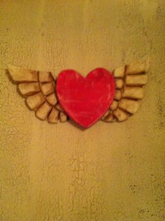 Wooden heart with wings from Nuttin_jank