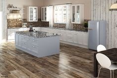 Colorker Retro Wood Look Porcelain Tile (Made in Spain) - flooring Wood Tile Floors, Kitchen Flooring, Kitchen Backsplash, Plywood Floors, Kitchen Wood, Painted Floors, Backsplash Ideas, Kitchen Paint, Laminate Flooring