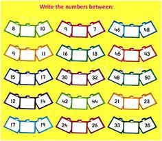 Between Numbers Worksheets Math Addition Worksheets, English Worksheets For Kindergarten, First Grade Math Worksheets, Numbers Kindergarten, 1st Grade Math, Preschool Worksheets, Math Activities, Preschool Activities, Math For Kids