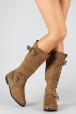 Coral-1 Buckle Riding Knee High Boot