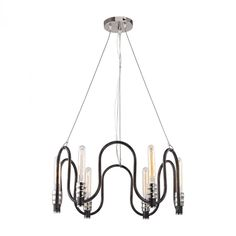 Continuum 6 Light Chandelier In Silvered Graphite With Polished Nickel Accents…