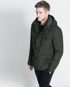 JACKET WITH DETACHABLE HOOD- ZARA