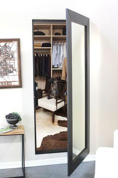 Easily hide an entire room or closet with our pre-assembled hidden mirror door. … Easily hide an entire room or closet with our pre-assembled hidden mirror door. Use the same solution celebrities & CEOs use. Mirror Closet Doors, Mirror Door, Closet With Mirror, Glam Mirror, Mirrors, Hidden Spaces, Hidden Rooms In Houses, Hidden House, Safe Room