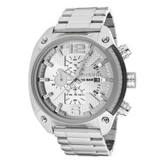 Airy white and steel combine for a mysterious effect on this watch by Diesel. - Stainless steel bracelet and round case, 49x46mm. - Silver-tone chronograph dial features silver-tone numerals at twelve