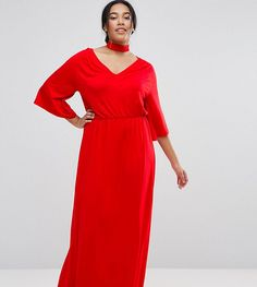 Get this Asos Curve's long dress now! Click for more details. Worldwide shipping. ASOS CURVE Choker Neck Band Kimono Plunge Maxi Dress - Red: Plus-size dress by ASOS CURVE, Soft-touch jersey, Choker-style neck, V-front, Wide-cut sleeves, Elasticated waist, Regular fit - true to size, Machine wash, 95% Viscose, 5% Elastane, Our model wears a UK 18/EU 46/US 14 and is 170cm/5'7 tall. Say goodbye to awkward-fitting plus-size fashion with our ASOS CURVE collection. Giving shout-outs to denim…