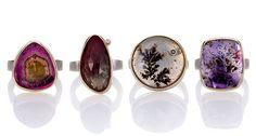 Autumn Jewelry Essentials - mineral rings bezel set