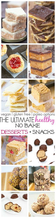 The Ultimate (Healthy) No Bake Dessert and Bars which ALL take less than 10 minutes to whip up! {vegan gluten free paleo options!}