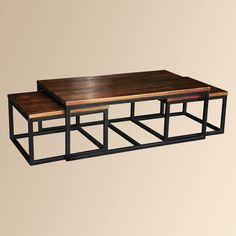 Palmer Nesting Coffee Table   Mango Wood Top and Solid Iron Base.