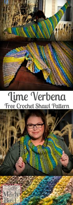 New Free Crochet Shawl Pattern-The Lime Verbena! Design by Marly Bird
