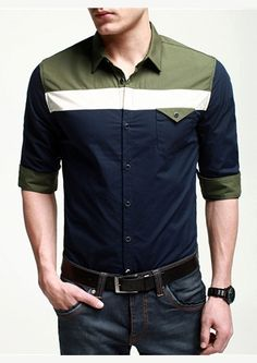 Men's Color Block Long Sleeve Shirt $23.99