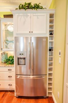 Home Tour: Stephen Alexander Fall 2012 Homearama - Refrigerator - Trending Refrigerator for sales. - Cute idea for wasted space on side of refrigerator. Kitchen built-ins-wine rack. Kitchen Redo, New Kitchen, Kitchen Storage, Kitchen Dining, Kitchen Cabinets, Kitchen Pantry, Awesome Kitchen, Wine Rack In Cabinet, Kitchen Cabinet Wine Rack