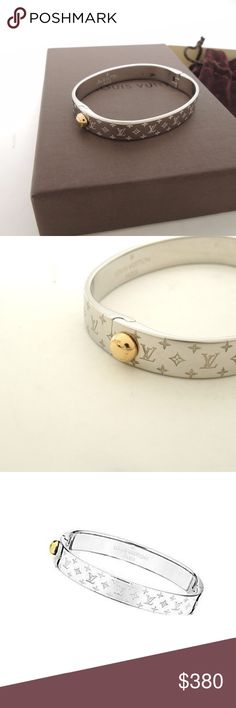 Authentic Louis Vuitton Monogram Bangle Engraved with the iconic monogram pattern and featuring a single Louis Vuitton stud. This was a present but it's not my style. Louis Vuitton Jewelry Bracelets