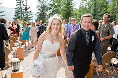 The Juniper Inn in Banff outdoor patio wedding ceremony. Photo by Orange Girl * Banff Wedding Photographer