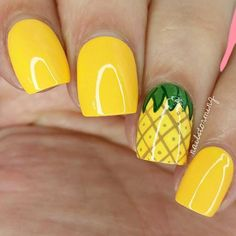 Stunning Fruit Nail Art Ideas That Refresh Your Summer 16 - Fashion trends change from time to time and there is no end to the innovative nail art designs and accessories that are used to beautify nails. Yellow Nails Design, Yellow Nail Art, Fruit Nail Designs, Best Nail Art Designs, Nail Art Simple, Cool Nail Art, Nail Art Fruit, Pineapple Nails, Nailart