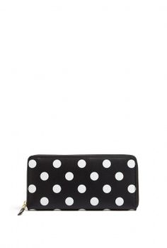 Polka Dots Printed Zip Around Long Wallet by Comme Des Garco