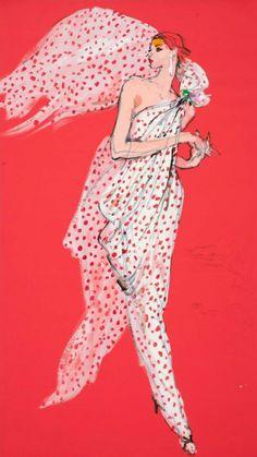 By Kenneth Paul Block, 1 9 8 3, model in red-and-white polka dot chiffon gown by Oscar de la Renta, W Magazine.