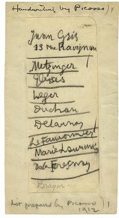 Picasso's List Organizers consulted an array of experts about what to exhibit in New York. Pablo Picasso recommended a list of artists for the show. He used phonetic spellings. Among others, Picasso listed Marcel Duchamp, Fernand Léger, and Juan Gris. Marcel Duchamp, List Of Artists, Great Artists, Archives Of American Art, Cubist Movement, Writing Lists, It's All Happening, Spanish Painters, Alfred Stieglitz