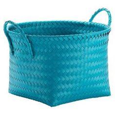 Round Woven Plastic Storage Basket   Teal Blue   Room Essentials™