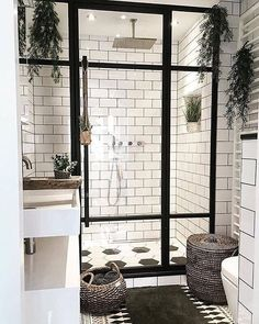 Bathroom Inspiration - we bring you bright ideas for how to design your living room, bedroom, bathroom and every other room in your house. Bad Inspiration, Bathroom Inspiration, Bathroom Ideas, Small Bathroom, Bathroom Goals, White Bathroom, Plants In Bathroom, Garden Bathroom, Natural Bathroom