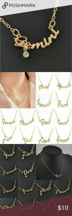 "Gemini zodiac necklace Zodiac signs necklace gold tone This listing is for ""GEMINI"" see other listings for the other signs New in plastic packaging Length 16.5 inches Boutique  Jewelry Necklaces"