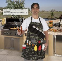 Provide an essential upgrade to your outdoor cooking by selecting this EZ Drinker Grill Master Grill Apron Holds Beverages and Tools in Camouflage. Grill Apron, Bbq Apron, Tin Foil Dinners, First We Feast, Grilled Desserts, Spice Bottles, Grilling Tips, Simply Recipes, Grill Master