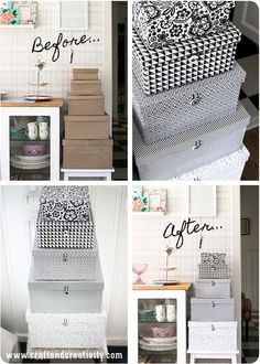 Lådor med ny look – Storage box makeover - Craft & CreativityDIY Storage box makeover - by Craft & Creativity. Scroll down for English directions. Use cute wallpaper i have for new bedroomStorage box makeover - covering plain boxes with patterned Diy Storage Boxes, Craft Storage, Easy Storage, Cardboard Box Storage, Pretty Storage Boxes, Paper Storage, Fabric Storage, Storage Containers, Home Crafts