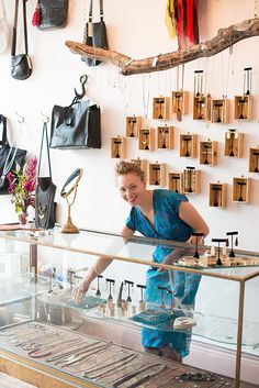 shop display example : #jewelrydisplay : cases on the wall