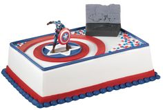 I like this one not too busy Captain America Party, Captain America Birthday, Capt America, Avengers Birthday, Boy Birthday, Birthday Board, Birthday Cakes, Baskin Robbins Cakes, Flash Cake